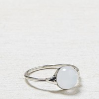 AEO Women's White Stone Ring (Silver)