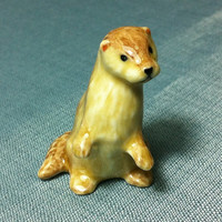 Miniature Ceramic Otter Animal Funny Cute Little Tiny Small Orange Beige Yellow Figurine Statue Decoration Hand Painted Collectible Figure