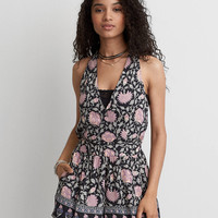 AEO Floral Wrap Front Romper, Navy