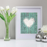 Rustic Heart Art, 8x10 Inch, Printable, Instant Download, Vintage Style, Love, Boards, Wooden Boards, Teal Home Decor, Housewarming