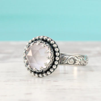Rose Quartz Ring, Sterling silver, Pink Gemstone, Rose Cut Round, Thick Floral Band, Gallery Crown Setting, Princess Ring, Vintage Style
