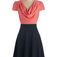 Louche 40s Mid-length Short Sleeves A-line Gondola Engagement Dress in Coral and Black