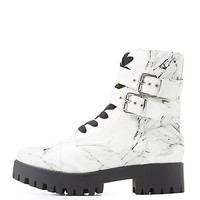 Marble Print Combat Boots | Charlotte Russe