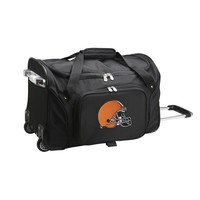 Cleveland Browns Limited Edition 22in Wheeled Duffel Nylon Bag-BLACK