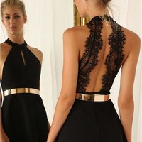 V-neck Open Back Lace Short Sleevees Short Dress