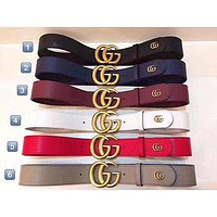 GUCCI Woman Men Fashion Smooth Buckle Belt Leather Belt-1