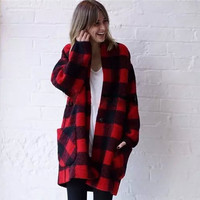 Plaid Long-Sleeve Pocket Coat