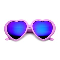 Women's Cute Oversize Heart Shape Mirror Lens Sunglasses 9764