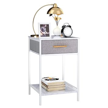 HOMFA Nightstand, 2-Tier End Table Side Table with Drawer, Shelf Dresser Storage Organizer and Open Shelf, Accent Table Modern Furniture in Bedroom Home White