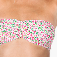 American Apparel - Floral Printed Cotton Spandex Jersey Ruched Front Tube Bra
