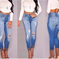 women s jeans female high waist hole jeans high quality not the poor