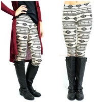 Fall Festival Taupe & Black Tribal Leggings