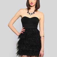 CHAMPAGNE KISSES FEATHER DRESS
