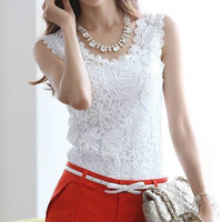 Women Cotton knitted lace sleeveless tank tops plus size causal sleeveless lace tops women F855