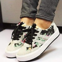 Women canvas shoes hot fashion  floral print casual flat shoes