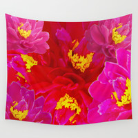 Red Pink Purple Yellow Flowers Wall Tapestry by Deluxephotos