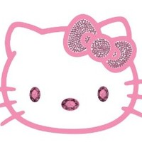 Hello Kitty Sanrio Face Head with Pink Bow and Pink Gem Crystals Car Truck SUV Home Office Window Decal Sticker - Cling Bling