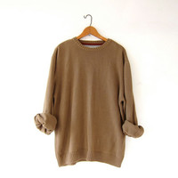 vintage light brown sweater. oversized slouchy pullover sweater. cotton sweater. boyfriend sweater. loose knit pullover. size L