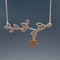 Multi Leaf Branch And Bird Dangling Necklace in Silver