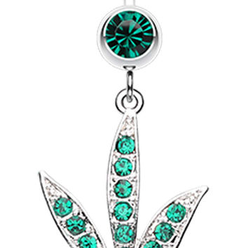 Cannibis Pot Leaf Multi-Glass-Gem Belly Button Ring