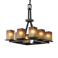 Justice Design Group FSN-8666-15-CRML-MBLK Fusion Matte Black Eight-Light Flat Rim Square Ring Chandelier with Caramel Glass