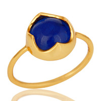 14K Yellow Gold Plated Sterling Silver Blue Aventurine Stackable Ring