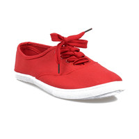 Red & White Classic Lace Up Sneaker Flats