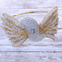Womans Headband, Gold and Silver Beaded Headband, Adult Teen Fashion Accessories by Flower Couture