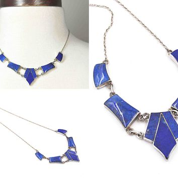 Vintage 980 Silver & Lapis Lazuli Collar Necklace, Deep Blue Cabochon, Inlaid, Geometric, Rope Chain, 18 Inches, Beautiful! #c609