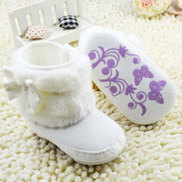 Newborn Baby Girls Bowknot Fleece Snow Boots Booties Warm Princess Shoes = 1946428420