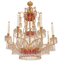Russian Neo-Classical Style Crystal and Ormolu, Eight-Light Chandelier