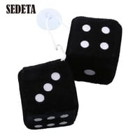 Pair Black Fuzzy Dice Dots Rear Rearview Mirror Hangers Vintage Car Accessories