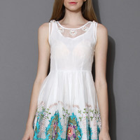 Spring Flowers White Embroidered Dress  White