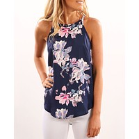 Women's new fashion print sleeveless camisole Blue