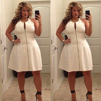 2016 Plus Size Sexy Women Party Sleeveless Casual Evening Zipper White Dress Vestido Plus Size 6XL
