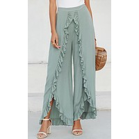 There She Goes Again Sage Green Elastic Waist Wide Leg Loose Split Ruffle Pants