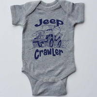 """Baby Onesuit-""""Jeep Crawler""""-Baby Boy Outfit-Grey Boy Onesuit bodysuit-Baby gift"""