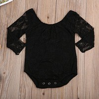 Baby Girls Long Sleeve Cute Floral Jumpsuit Playsuit Clothes Outfits Toddler Infant Baby Girl Bodysuits Lace Tops