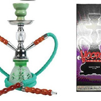 """VooDooTM 10"""" Skull Design 2 Hose Small Hookah Pipe with All Accessories (Green)"""