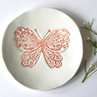 Rustic Butterfly Porcelain Plate, White Dish with Red Butterfly, Plate with Romantic Details