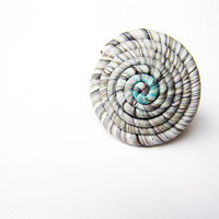 Swirl ring- white pale blue grey- nature inspired- polymer clay- handmade- adjustable- big round statement ring- gift for her