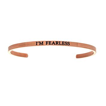 Intuitions Stainless Steel I'M FEARLESS Diamond Accent Cuff Bangle Bracelet
