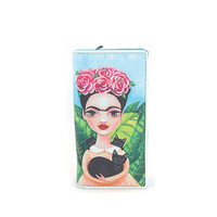 Frida Kahlo with Cats Vinyl Blue Wallet Art