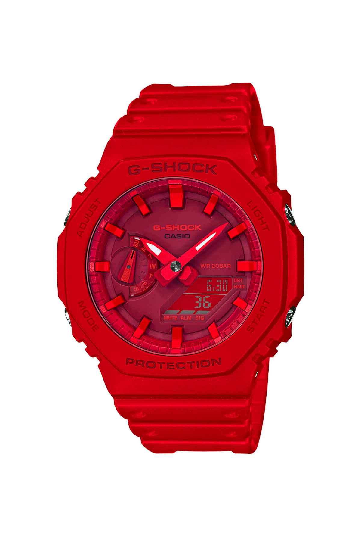 Image of Casio G-SHOCK Analog GA2100-4A Watch in Red/Red