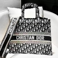 Dior retro classic ladies large-capacity embroidery shopping bag portable shopping bag