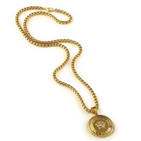 Indie Designs Versace Inspired Plated Gold Medusa Coin Necklace