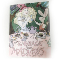 Alice in Wonderland Note Card, Blank Watercolor Note Card, Gift for Lewis Carroll Fan, Alice in Wonderland Themed, Tea Party Themed Cards