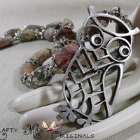 Leorpard Skin Jasper and Beautiful Owl Necklace Set