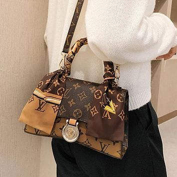Louis Vuitton LV retro tote bag satin silk scarf satchel fashion lady shoulder messenger bag