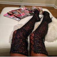 Sexy Kardashian Black Lace Over The Knee Boots Women Open Toe Lace Up Thigh High Knight Boot High Heel Cut-out Long Boot Party